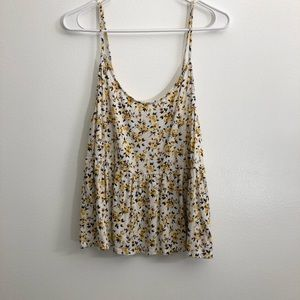 American Eagle Floral Peplum Tank Top